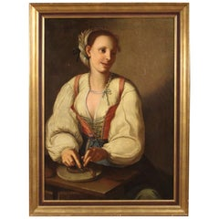 Antique Italian Painting Portrait of a Cook from the 18th Century