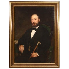Antique Italian Painting Portrait of a Gentleman Signed from the 19th Century