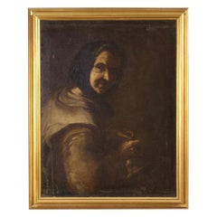 Antique Italian Painting Portrait of a Peasant Woman from the 18th Century