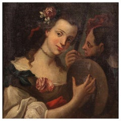 Antique Italian Painting Portrait of a Young Girl from the 18th Century