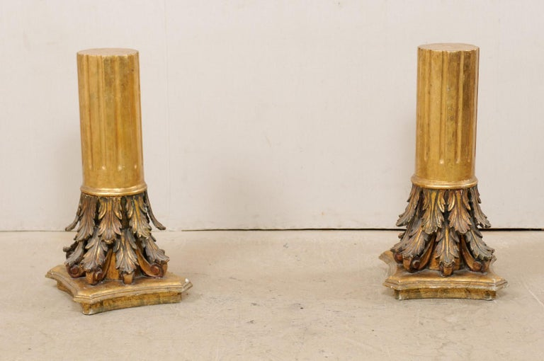 An Italian pair of carved and giltwood three feet tall pedestals from the early 20th century. This antique pair of architectural pedestal columns from Italy, standing approximately three feet in height, are gesso and gilt over wood. The round-shaped