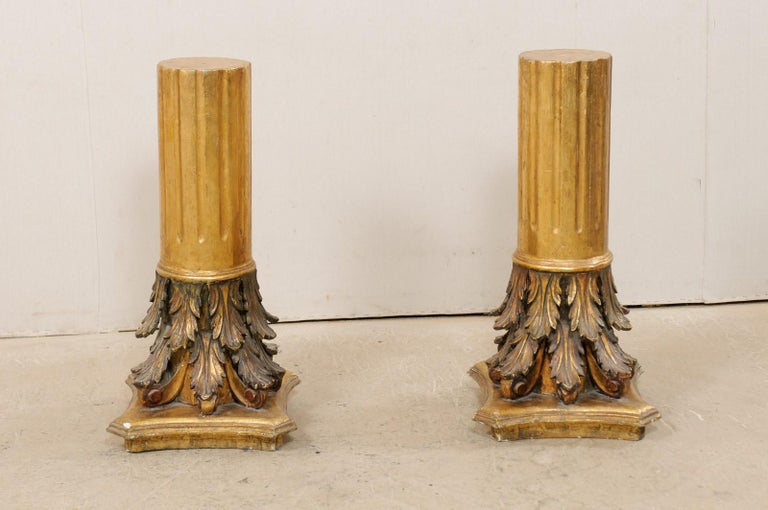 Hand-Carved Antique Italian Pair of Roman Cointhian Style Carved & Giltwood Pedestals For Sale