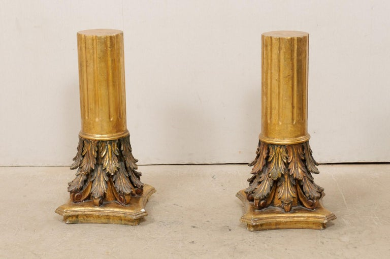 Antique Italian Pair of Roman Cointhian Style Carved & Giltwood Pedestals In Good Condition For Sale In Atlanta, GA