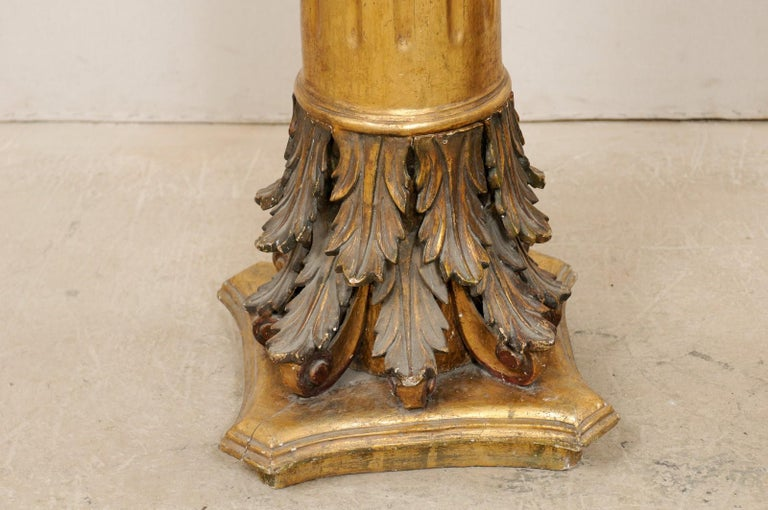 Antique Italian Pair of Roman Cointhian Style Carved & Giltwood Pedestals For Sale 1