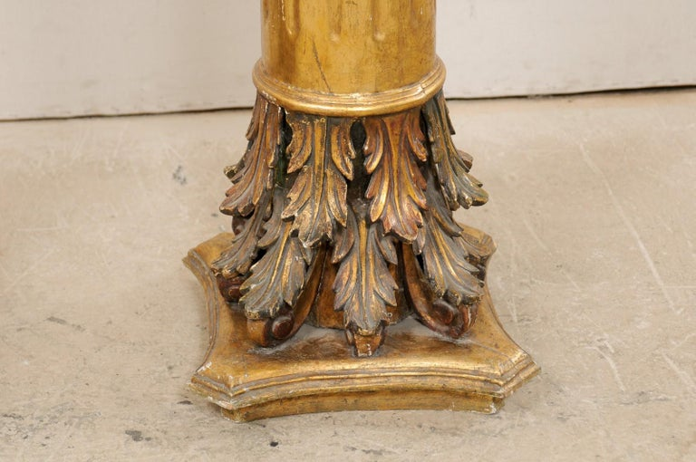 Antique Italian Pair of Roman Cointhian Style Carved & Giltwood Pedestals For Sale 3
