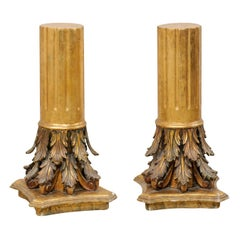 Antique Italian Pair of Roman Cointhian Style Carved & Giltwood Pedestals