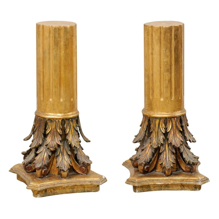 Antique Italian Pair of Roman Cointhian Style Carved & Giltwood Pedestals For Sale