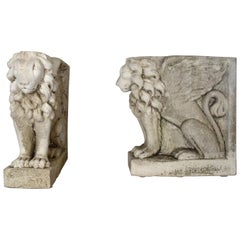 Antique Italian Pair of Winged Lion Bases Statuary from Lake Como, circa 1910