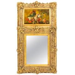 Antique Italian Parcel-Gilt Trumeau Mirror Painting, 19th Century