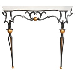 Antique Italian Parcel Gilt Wrought Iron Marble Top Console Table, 20th Century