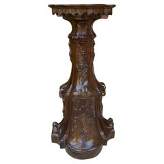Antique Italian Pedestal Plant Stand Display Table Walnut Baroque Book Rest