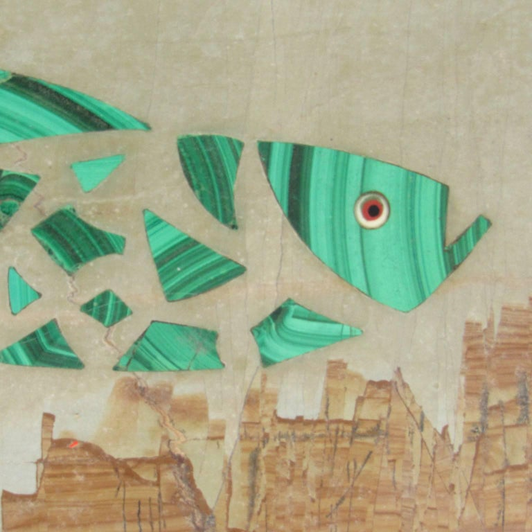 Whimsical antique Italian Pietra Dura fish plaque