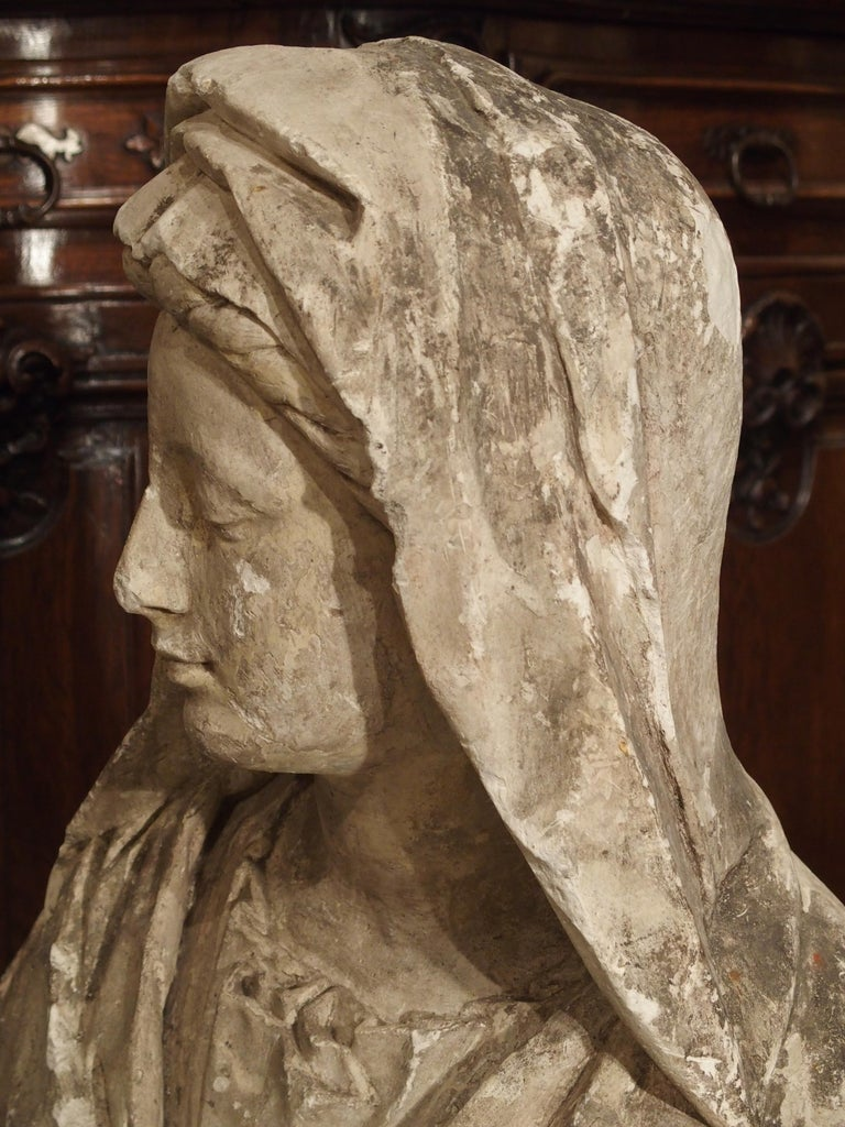 Antique Italian Plaster Bust of a Woman, circa 1890 For Sale 6