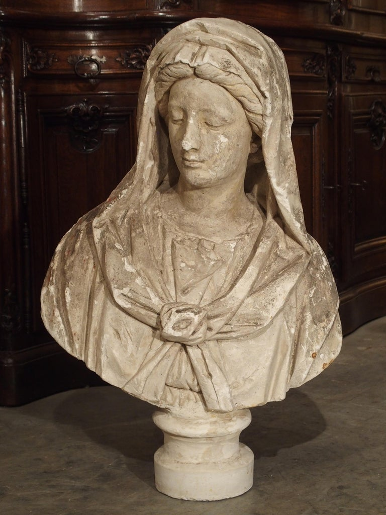 Antique Italian Plaster Bust of a Woman, circa 1890 For Sale 8