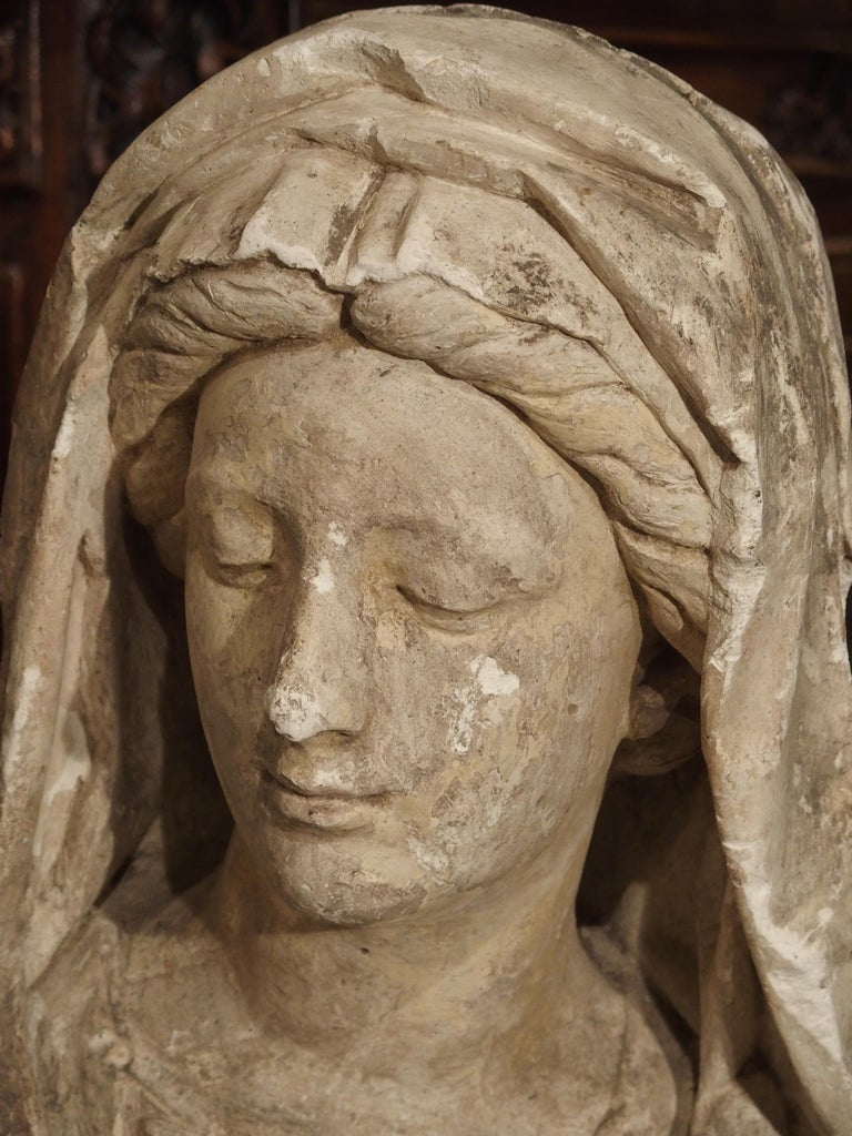 Antique Italian Plaster Bust of a Woman, circa 1890 For Sale 1