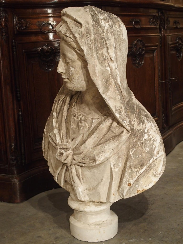 Antique Italian Plaster Bust of a Woman, circa 1890 For Sale 5
