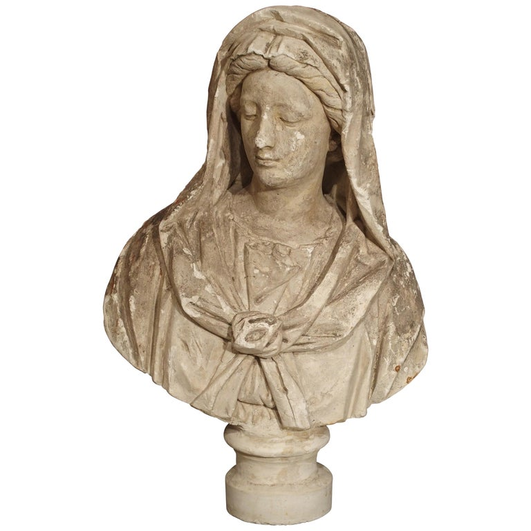Antique Italian Plaster Bust of a Woman, circa 1890 For Sale
