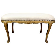 Antique Italian Régence Louis XV Style Painted Bench