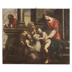 Antique Italian Religious Oil Painting on Canvas from the 18th Century