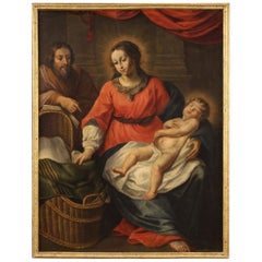 Antique Italian Religious Painting Holy Family from the 18th Century