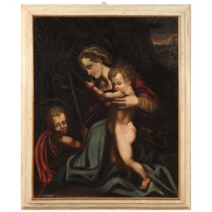 Antique Italian Religious Painting Madonna with Child and San Giovannino