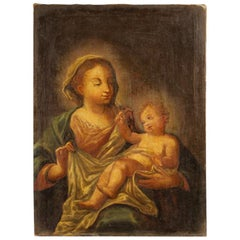 Antique Italian Religious Painting Madonna with Child from the 18th Century