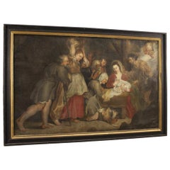 Antique Italian Religious Painting Nativity from the 18th Century