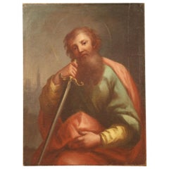 Antique Italian Religious Painting Saint Paul from the 18th Century