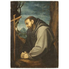 Antique Italian Religious Painting San Francesco from the 18th Century