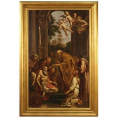 Antique Italian Religious Painting San Gerolamo from the 19th Century