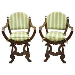 Antique Italian Renaissance Carved Walnut Savonarola Throne Armchairs, a Pair