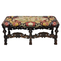Antique Italian Renaissance French Baroque Carved Walnut Needlepoint Bench