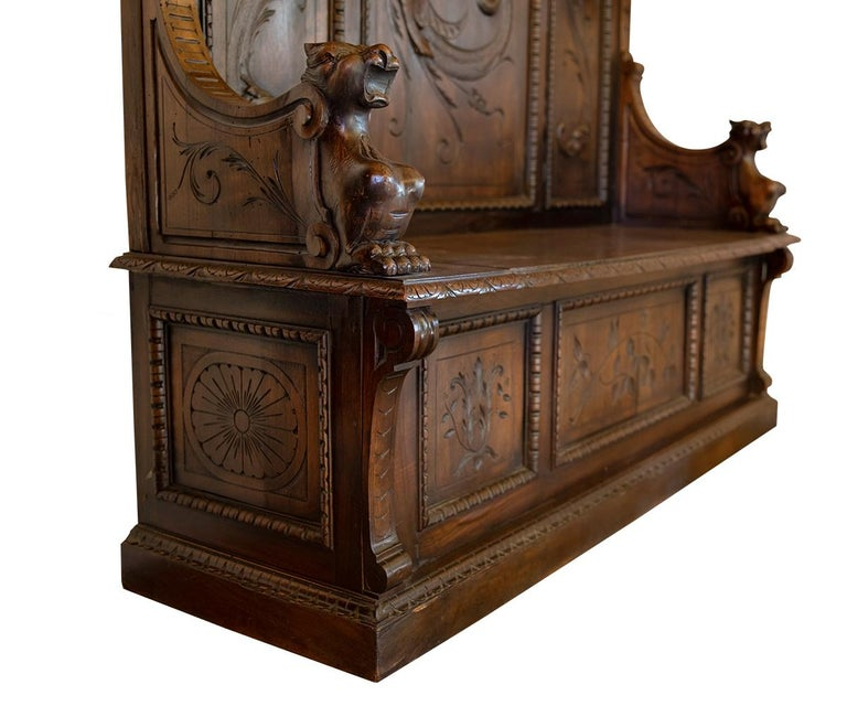 Antique Italian Renaissance Revival Carved Walnut Hall Bench with Storage For Sale 3