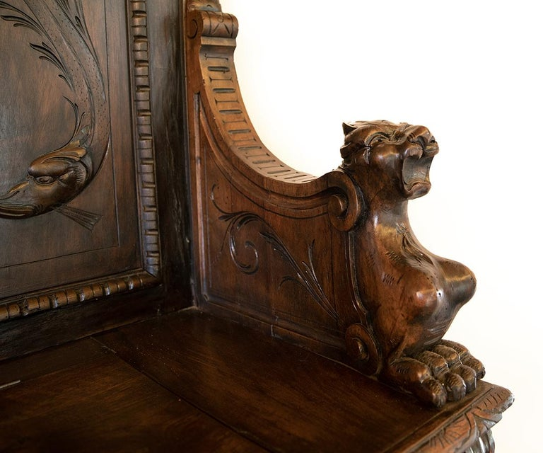 Antique Italian Renaissance Revival Carved Walnut Hall Bench with Storage For Sale 4