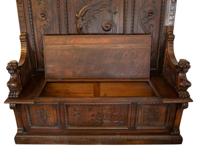 Antique Italian Renaissance Revival Carved Walnut Hall Bench with Storage For Sale 5