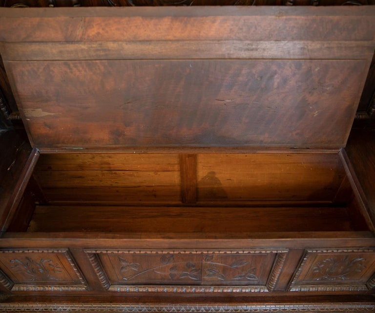 Antique Italian Renaissance Revival Carved Walnut Hall Bench with Storage For Sale 6