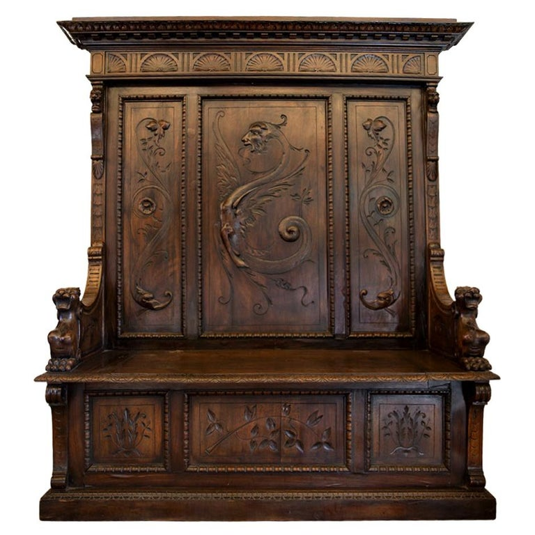 Antique Italian Renaissance Revival Carved Walnut Hall Bench with Storage For Sale