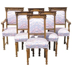 Antique Italian Renaissance Revival Lion Carved Oak Dining Chairs, Set of 6