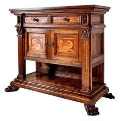 Antique Italian Renaissance Revival Walnut Marquetry Sideboard/Server circa 1880