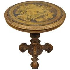 Antique Italian Renaissance Rococo Carved Wood Pedestal Base Center Table