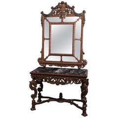 Antique Italian Renaissance Style Deeply Carved Walnut Console & Mirror, c1890