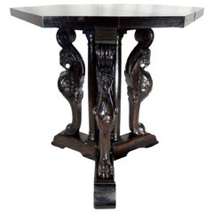 Antique Italian Renaissance Style Griffon Carved Walnut Hexagonal Entry Table