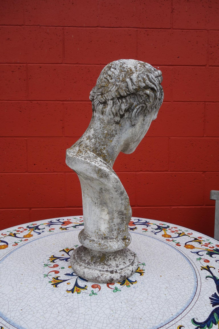 Cement 19th Century Italian Renaissance Style Hermes Bust in Grisaglia from Lake Como For Sale