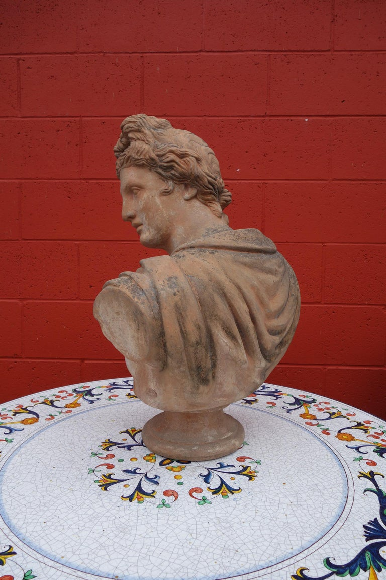 Hand-Crafted Antique Italian Renaissance Style Old Impruneta Terracotta Bust of Apollo For Sale
