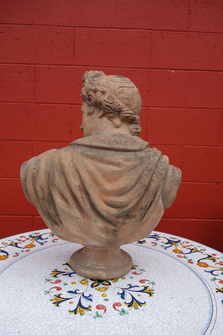 Antique Italian Renaissance Style Old Impruneta Terracotta Bust of Apollo In Good Condition For Sale In Encinitas, CA