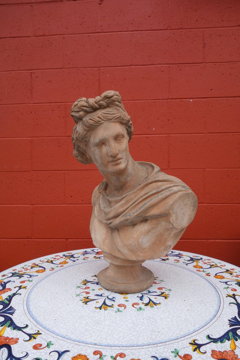 19th Century Antique Italian Renaissance Style Old Impruneta Terracotta Bust of Apollo For Sale