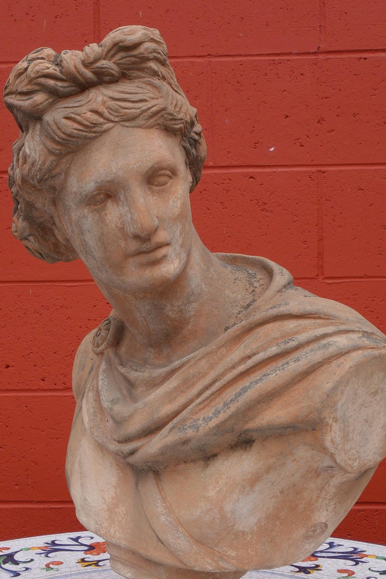 Antique Italian Renaissance Style Old Impruneta Terracotta Bust of Apollo For Sale 1