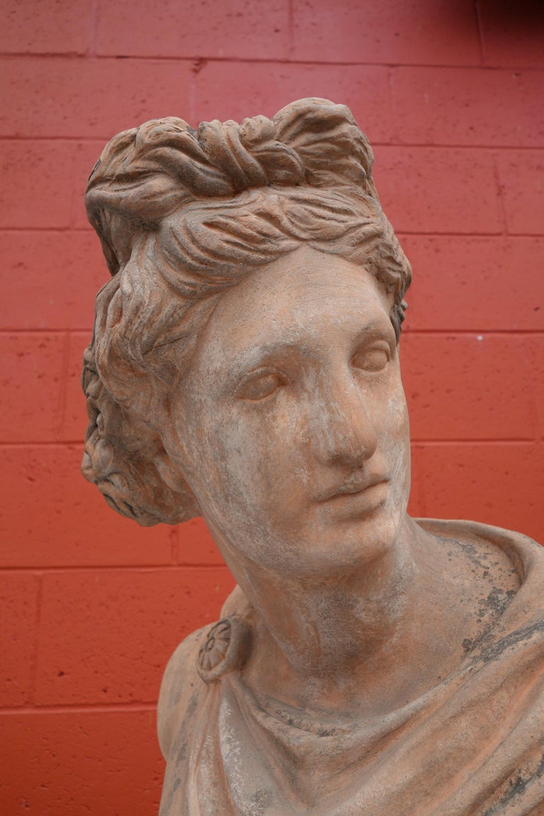 Antique Italian Renaissance Style Old Impruneta Terracotta Bust of Apollo For Sale 2