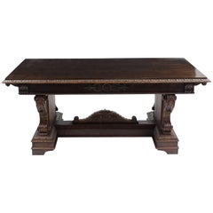 Antique Italian Renaissance Trestle Dining Table