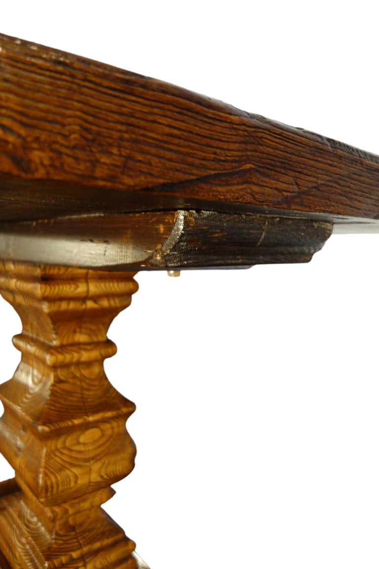 17th Century Style Italian Solid Slab Old Chestnut Trestle Table  For Sale 8